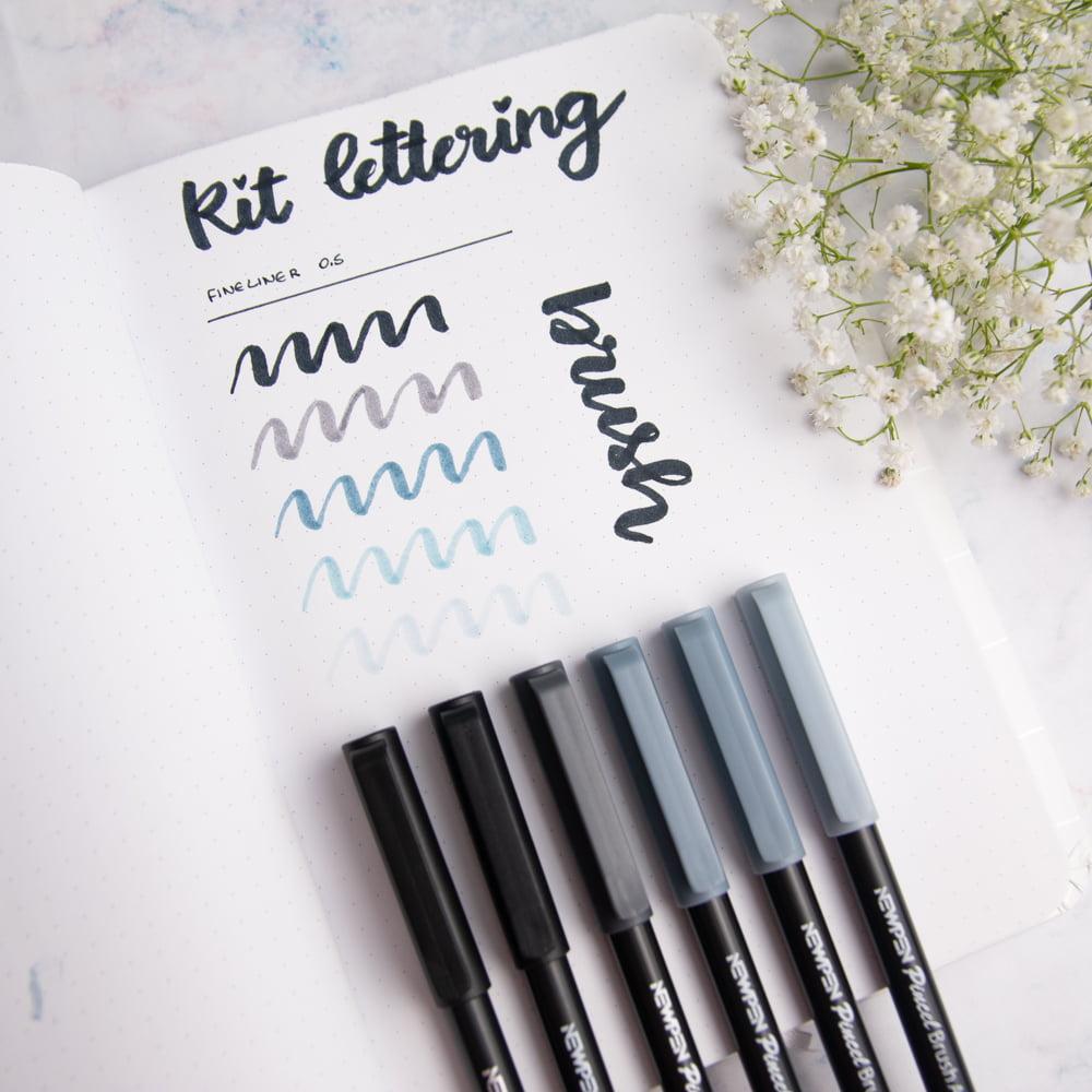 Kit brush Tons de Cinza para Lettering - Marina Viabone