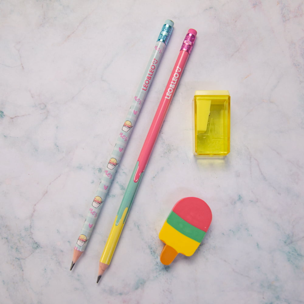 Kit Picolé - Lápis, borracha e apontador