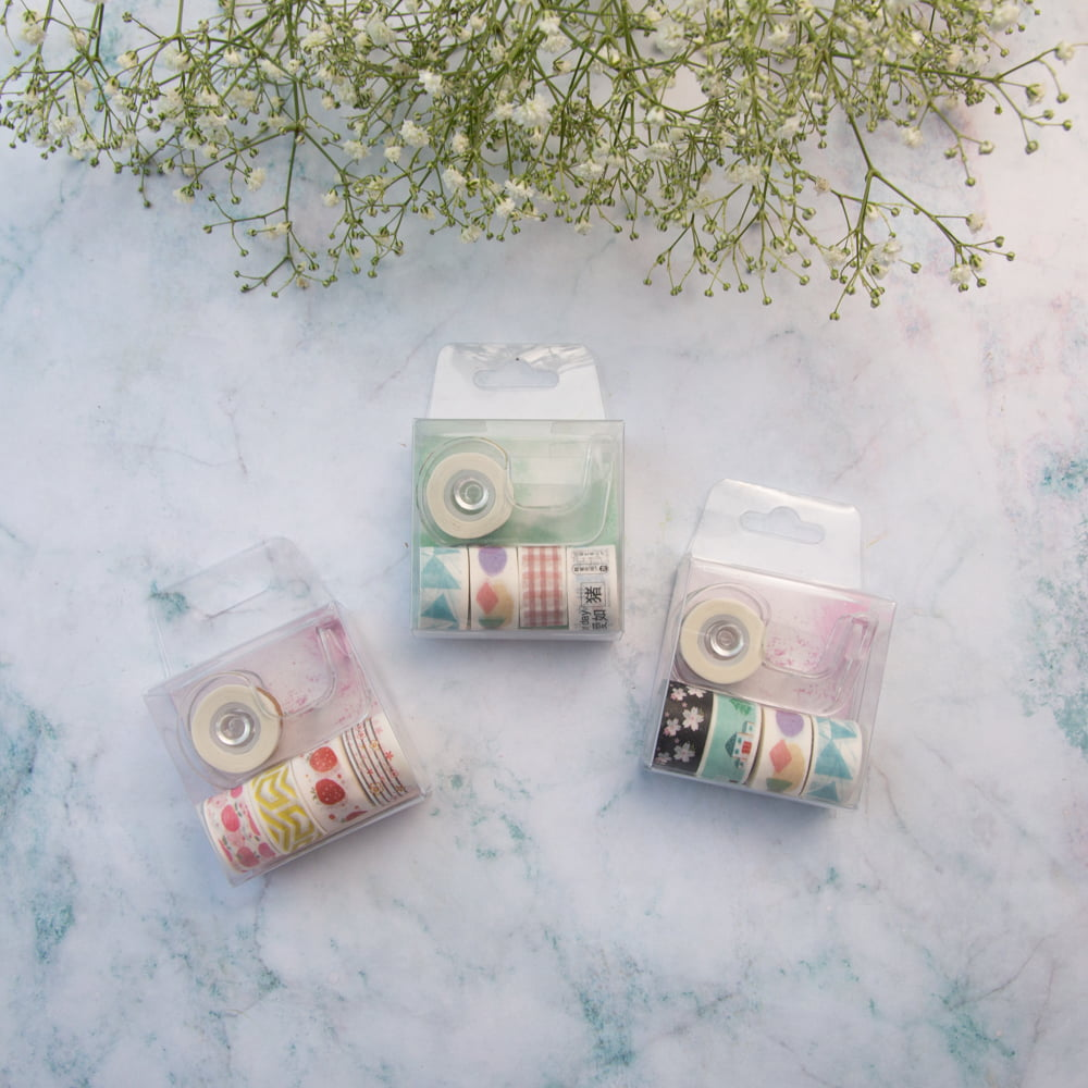 KIT DE MINI WASHI TAPES SORTIDAS + DISPENSER