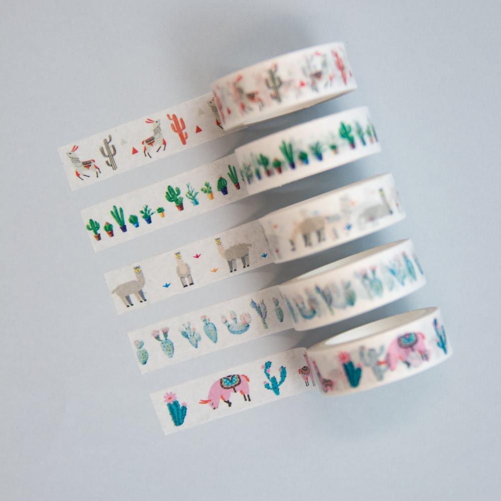 Kit Washi Tapes Lhamas e Cactos