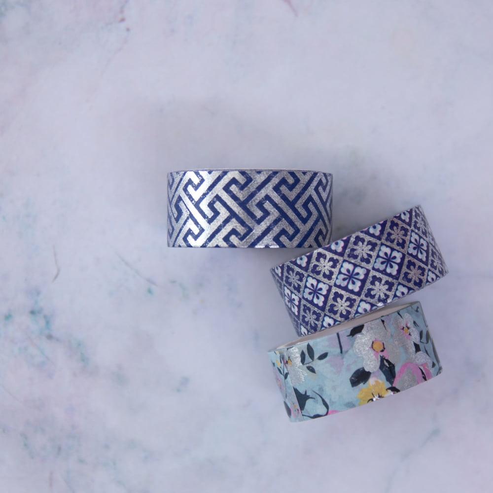 Trio de Washi Tapes Blue Roses
