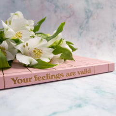 Caderno pontilhado Your feelings are valid - Rosa e Mostarda