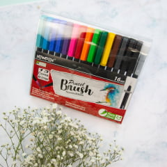 Kit Caneta Brush - Ponta pincel Newpen 16 unidades