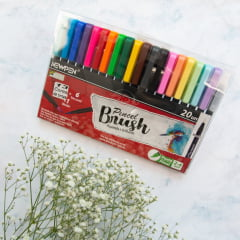 Kit Caneta Brush - Ponta pincel Newpen 20 Unidades