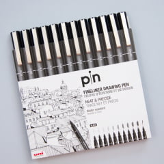 Kit Fine Line Nanquim Uni Pin - 0,03mm à Brush