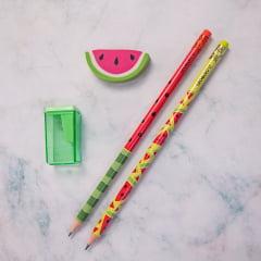 Kit Melancia - Lápis, borracha e apontador