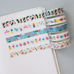 Kit Washi Tape Flamingo Tropical