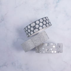 TRIO DE WASHI TAPES GLITTER BLACK