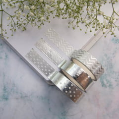 Trio de Washi Tapes Silver